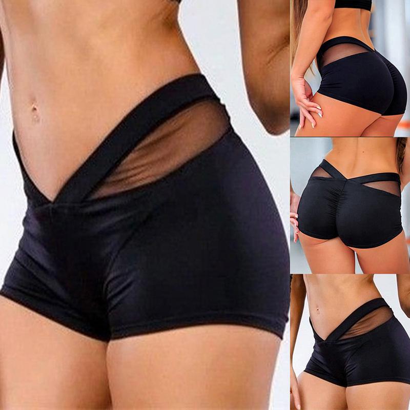 Women High Waist Yoga Short Tummy Mesh Sport Workout