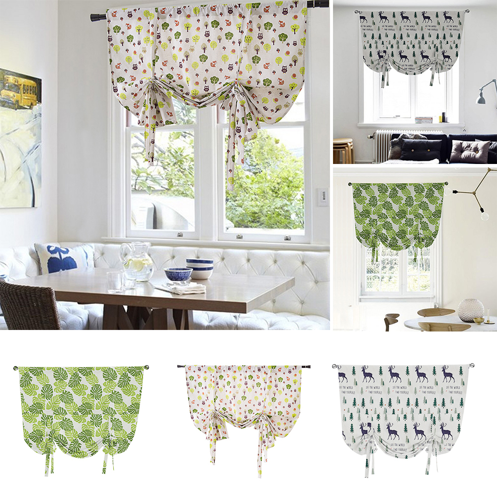 Ready Made Floral Printed Kitchen Tie Up Curtains Window