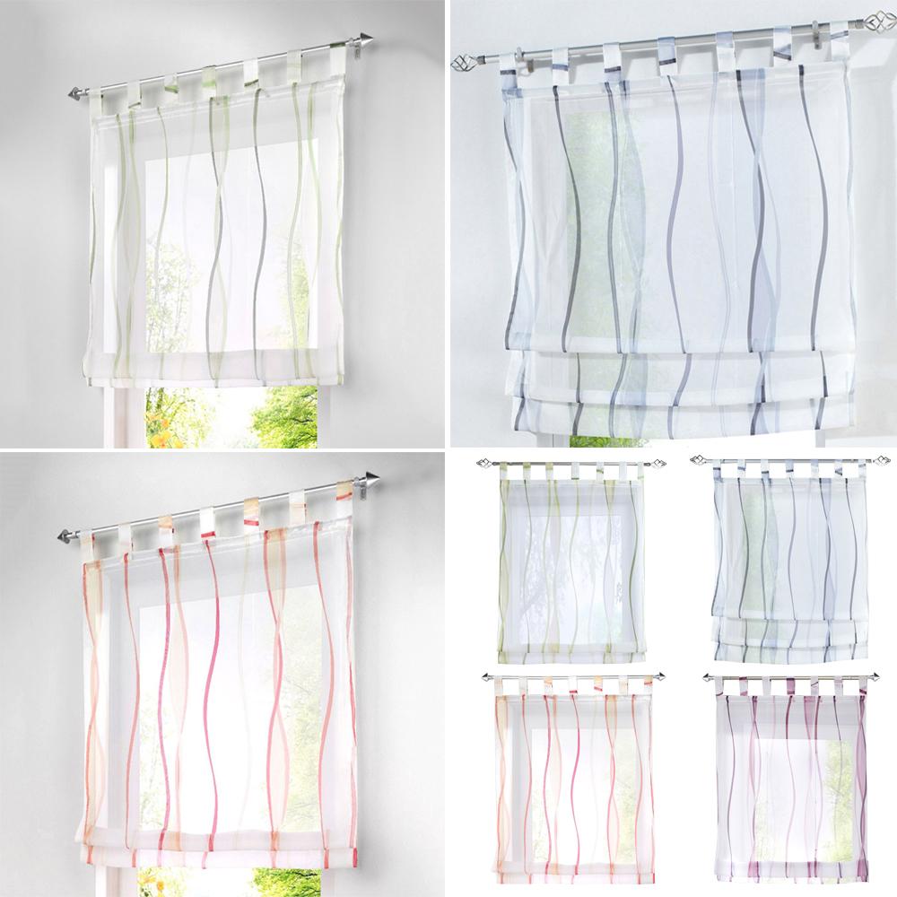 Adjustable Sheer Tie Up Curtains Stripe Rod Pocket Short