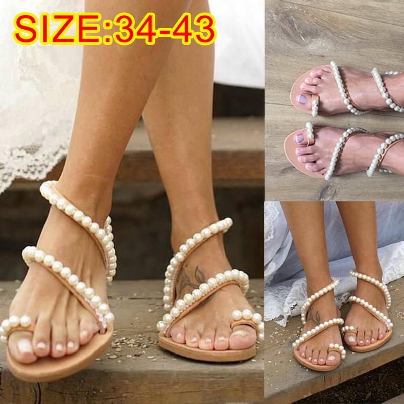UK Stock Women/'s Boho Flat Flip Flops Sandals Summer Bandages Casual Beach Shoes