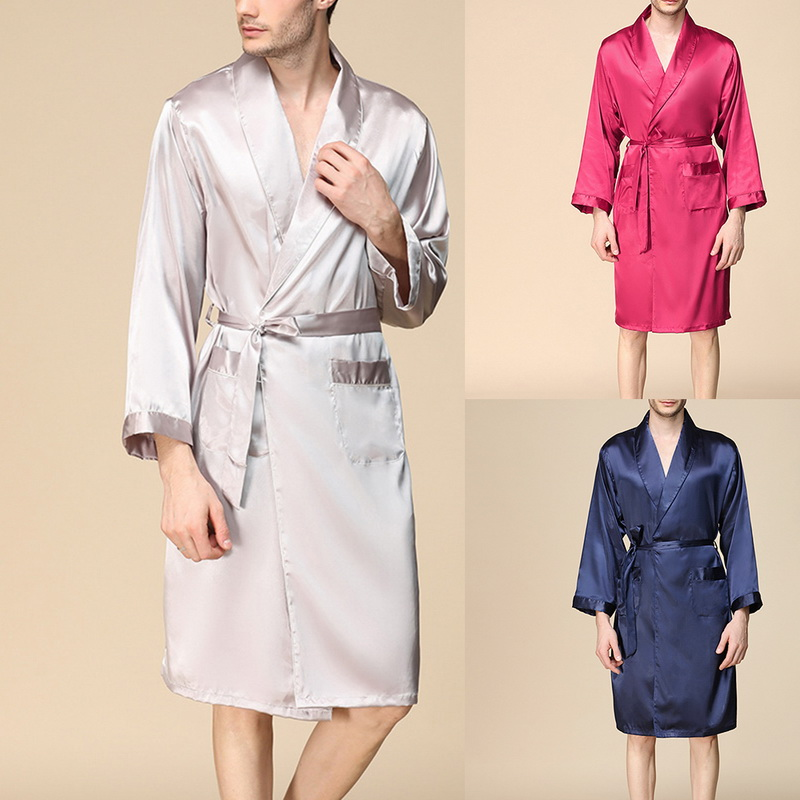 959b14745fa1 Mens Satin Long Sleeve Pajamas Kimono Bathrobe Robe Dressing Gown Sleepwear  Hot