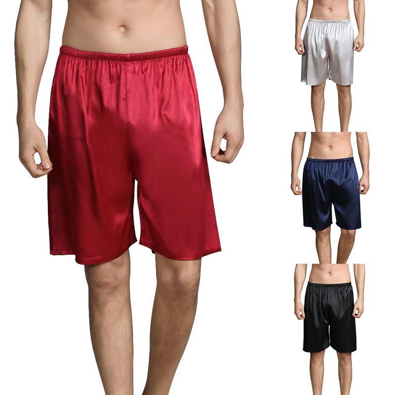 UK Men Silk Satin Sleepwear Pajama Nightwear Short Pants Boxers Beach Shorts Hot