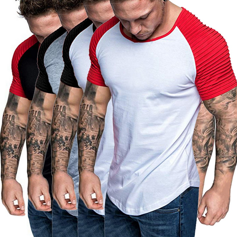 Men/'s Athletic Pleated Short Sleeve T-Shirt Muscle Training Slim Fitness Tops GI