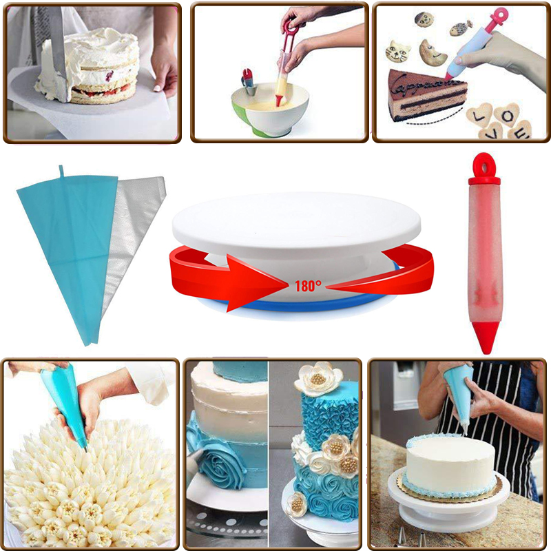 170X Cake Decorating Baking Supplies Kit Icing Nozzles Turntable Stand Equipment