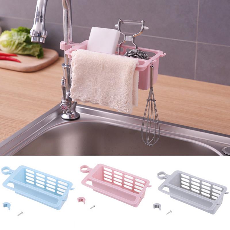 Sponge Holder Sink Around Faucet Kitchen Shelf Adjustable Pool Storage Rack