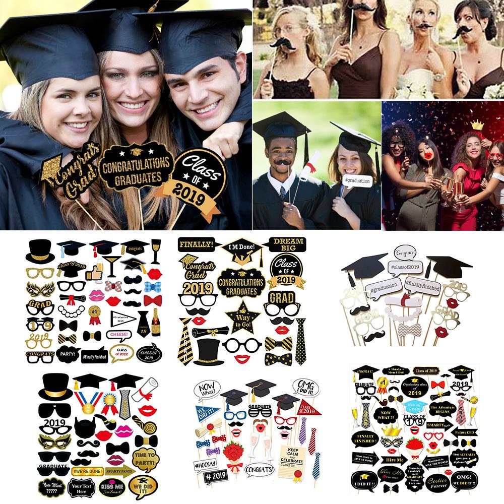 Clase de 2019 graduación Grad Party Supplies máscaras Cabina de Fotos Accesorios Decoración