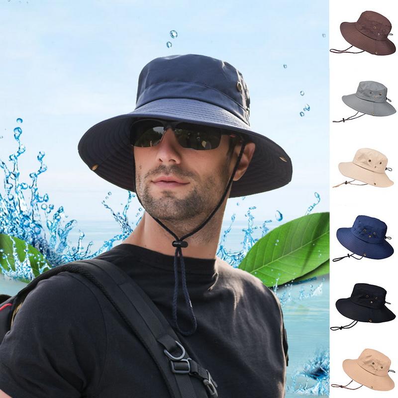 8c1c663d Details about HL Summer Men's Sun Hat Bucket Fishing Hiking Cap Wide Brim UV  Protection Hat