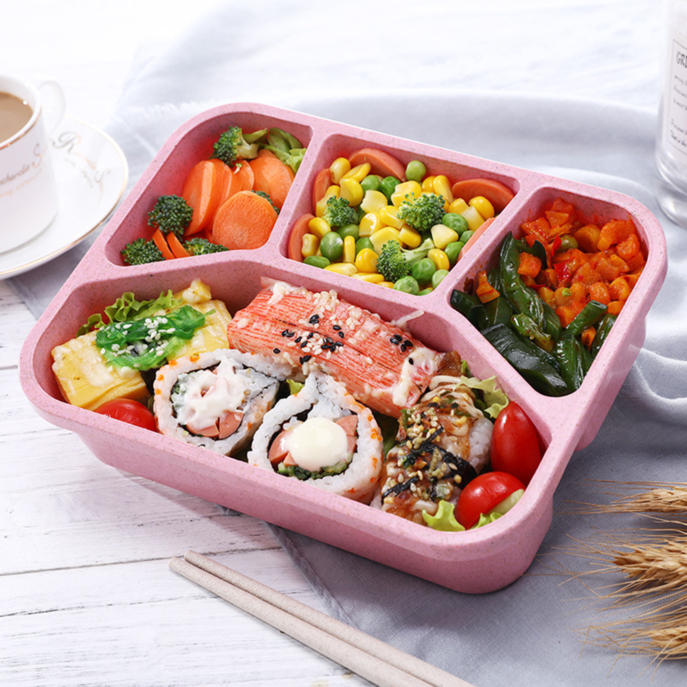 4 compartiments bo te repas go ter d jeuner bento lunch box isotherme cuill re ebay. Black Bedroom Furniture Sets. Home Design Ideas