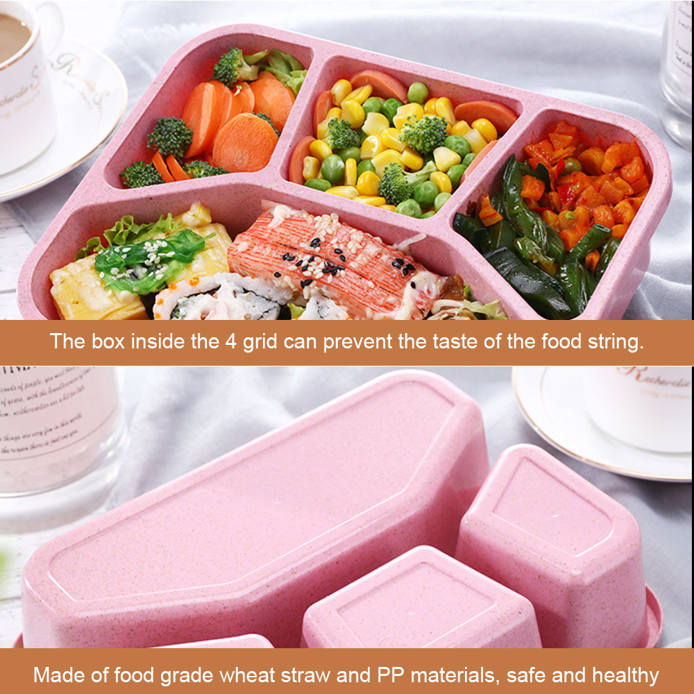PORTABLE 3-GRID WHEAT STRAW LIGHTWEIGHT BENTO LUNCH BOX FOOD STORAGE CONTAINER F