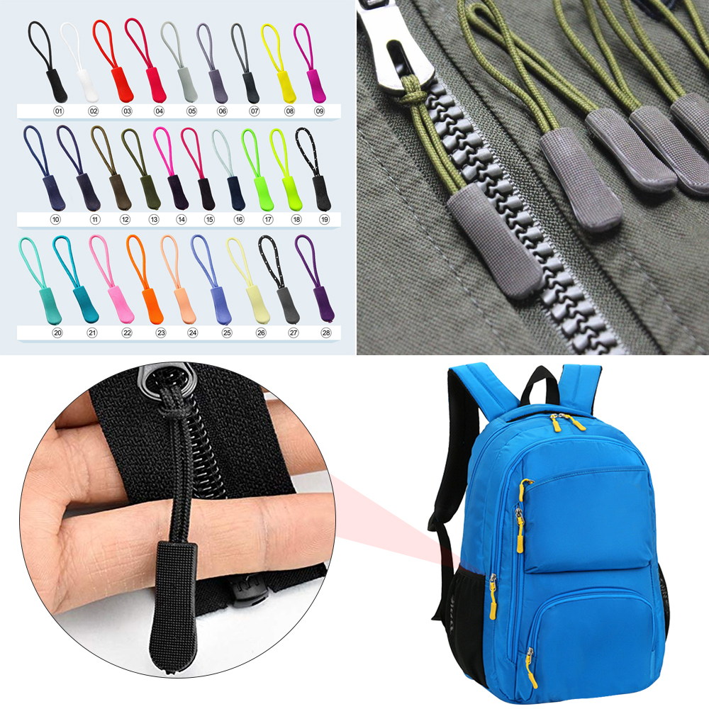 10PCS Zipper Puller Outdoor Camping Backpack Zipper Pull Cord Clothes Accessory