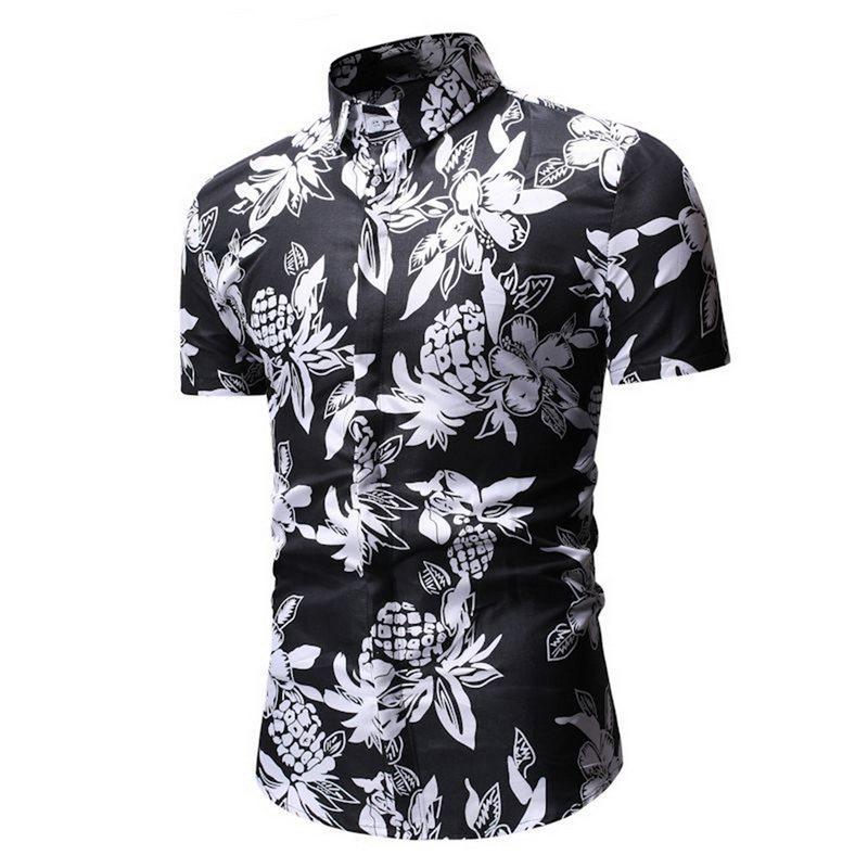 Men Hawaii Short Sleeve Button-Down Shirt Slim Fit Casual T-Shirt Floral Tops LO