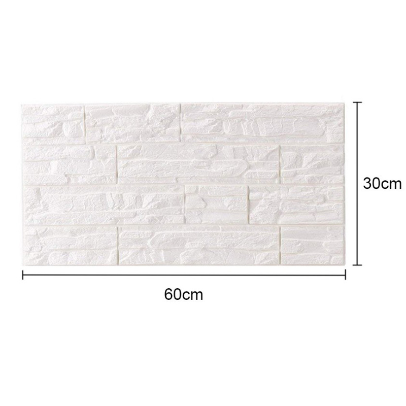 5-15PC 3D Wallpaper Stone Brick Wall Sticker Panel Thick PE Foam Soft Wall Cover