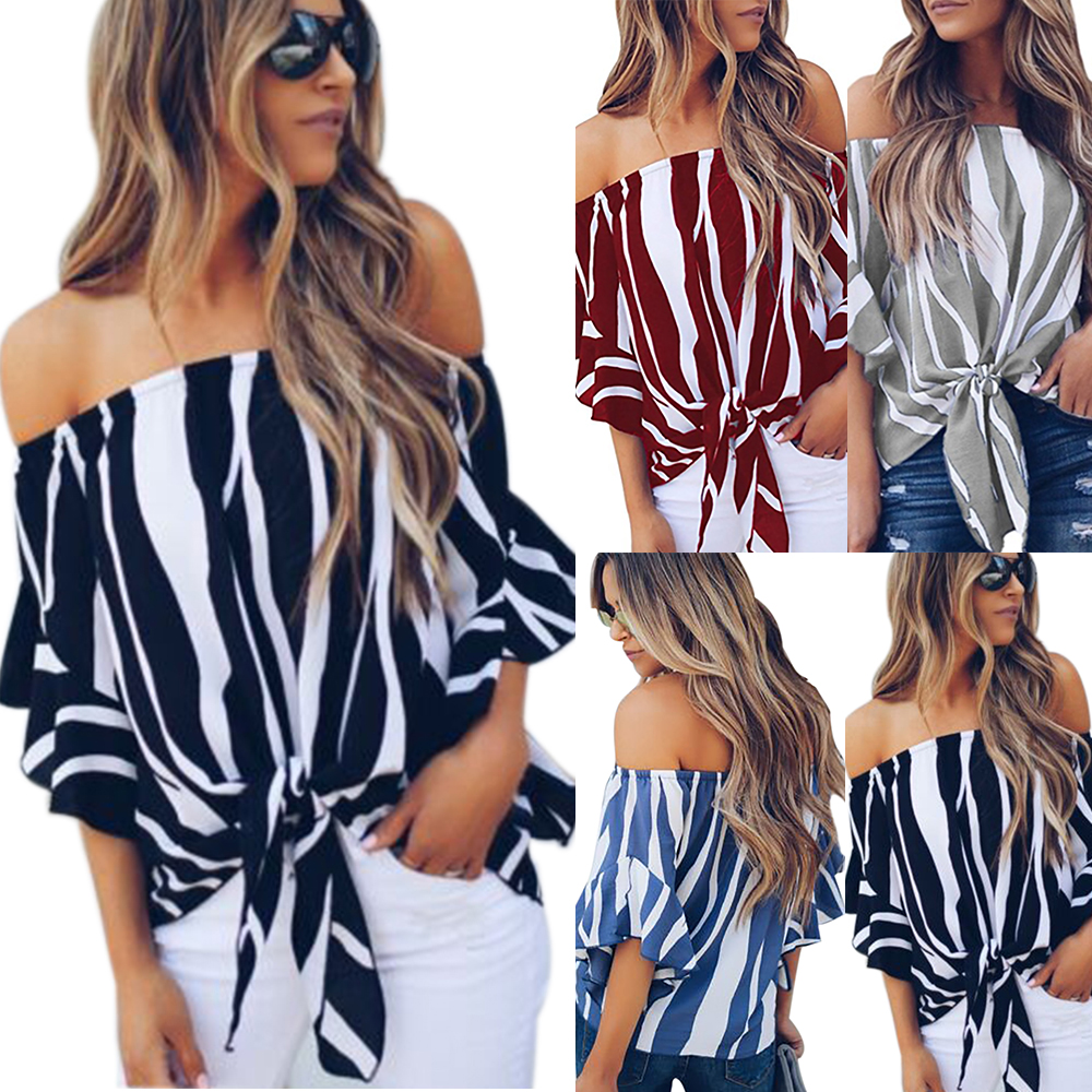 89d57035b6a Womens Bardot Off Shoulder Tops Ladies Summer Casual Loose T Shirt Blouse