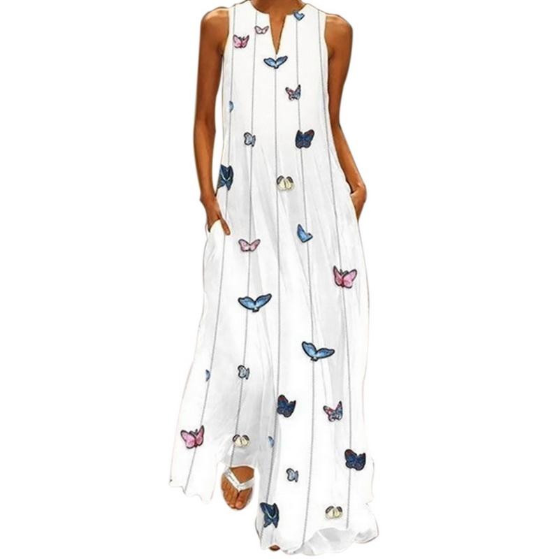 UK STOCK Womens Striped Deep V Neck Evening Party Long Vest Dress Kaftan Robe