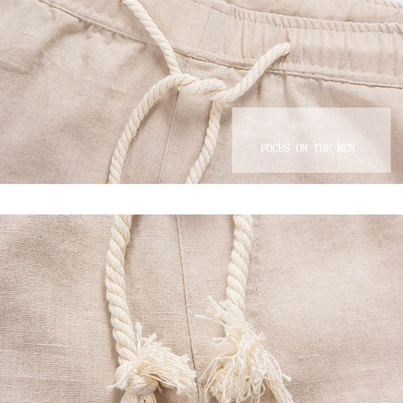 Men Summer Linen Loose Casual Trousers Beach Rope Tie Drawstring Soft Pants T99