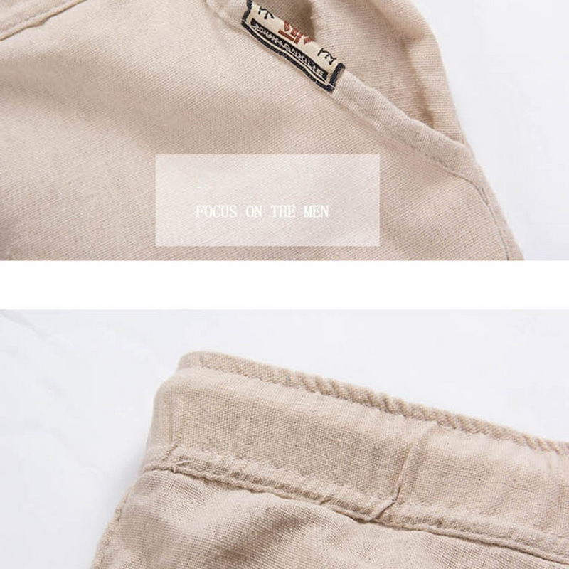 Men Summer Linen Loose Trousers Casual//Travel Beach Rope Tie Drawstring Pants GI