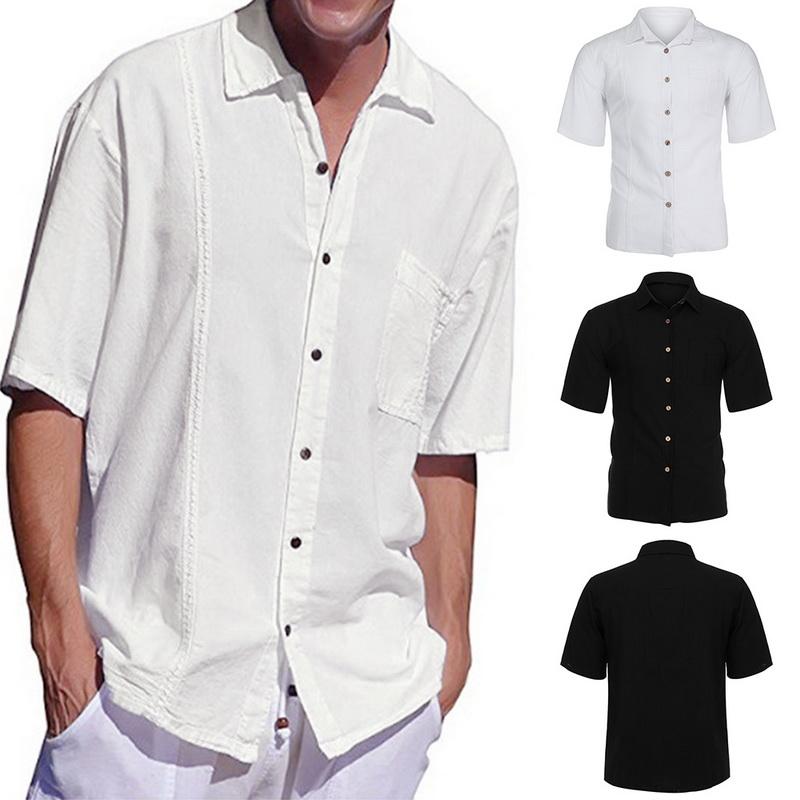 Mens Linen Hippie Summer Short Sleeve Casual Button Down Shirt Tops Shirts  Clothing