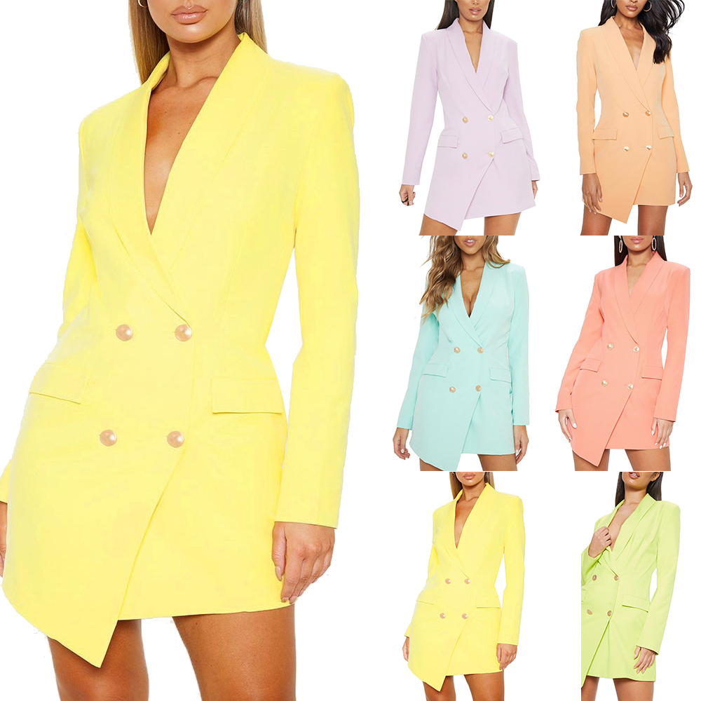 Womens Tuxedo Mini Dress Long Sleeves Party Double Breast Button Dress Long Top