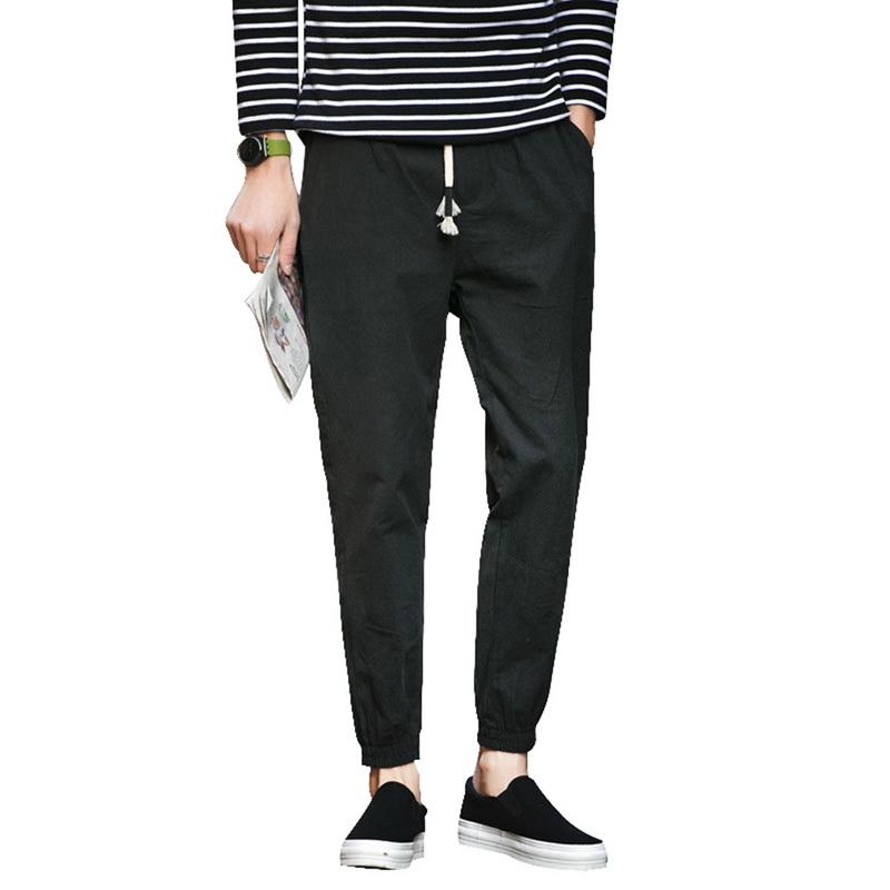0750c31447 Men's Drawstring Beach Pant Summer Cotton Linen Loose Casual Jogger Pants  GIFT
