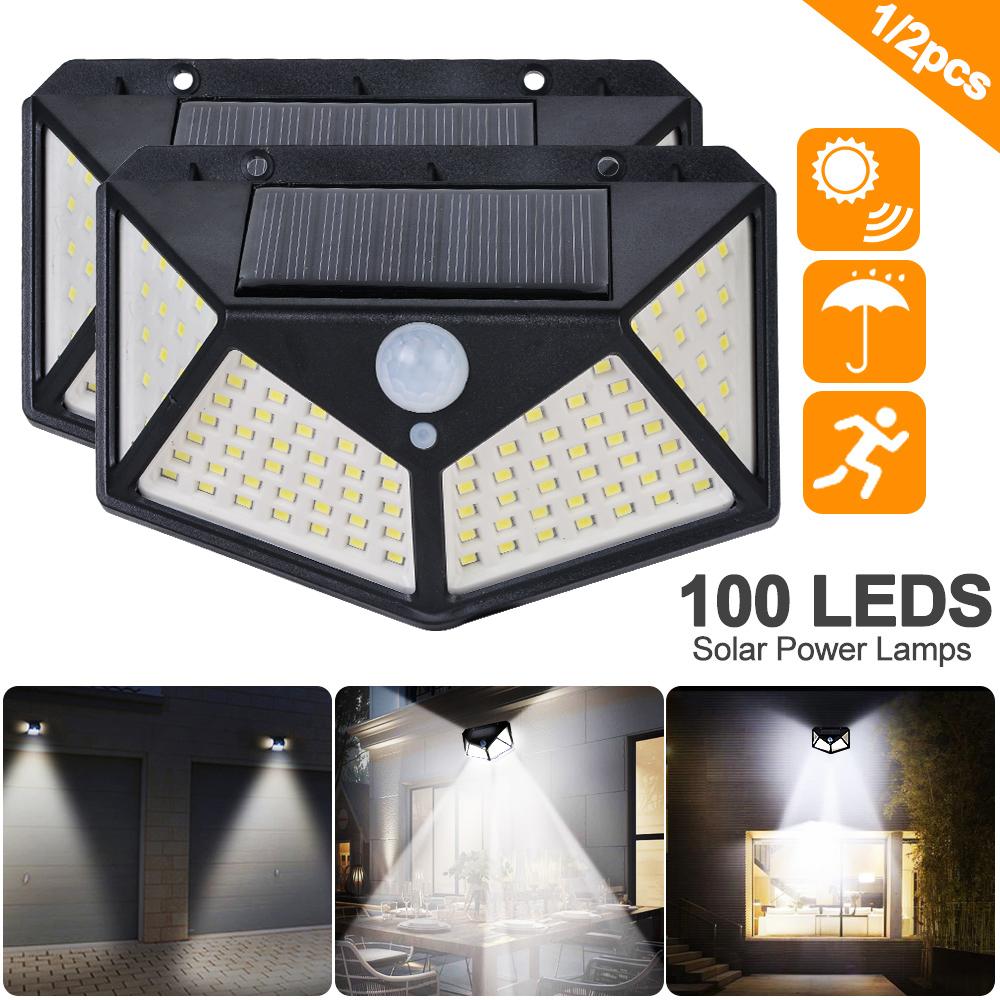 100LED Outdoor Waterproof Motion Sensor Solar Power Lamps 270 Degree Wall Lights