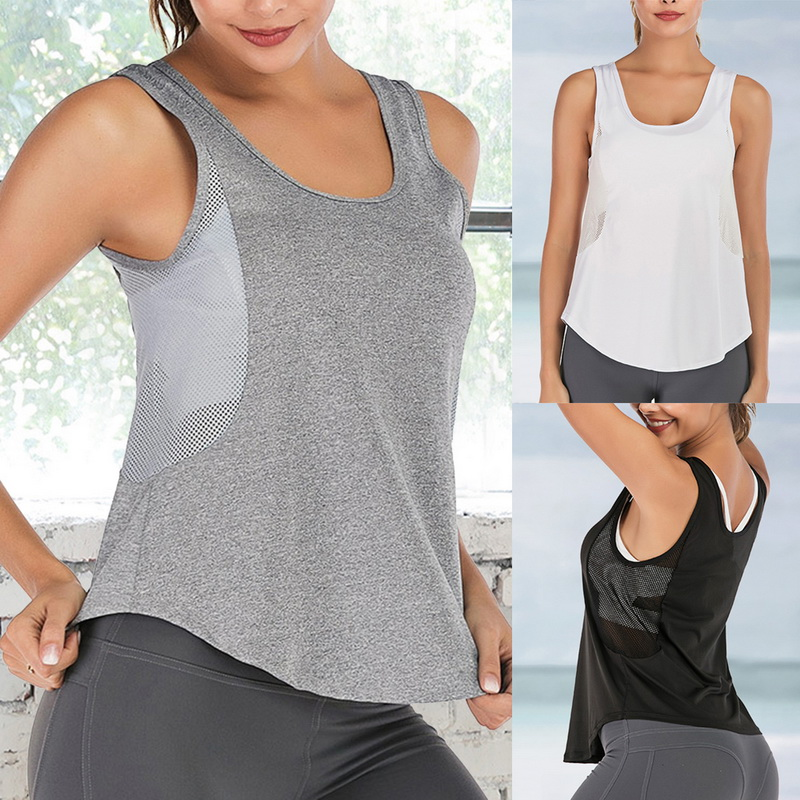 Yoga Tank Tops Sleeveless Running Shirts Sports Workout Tees For Women New BY