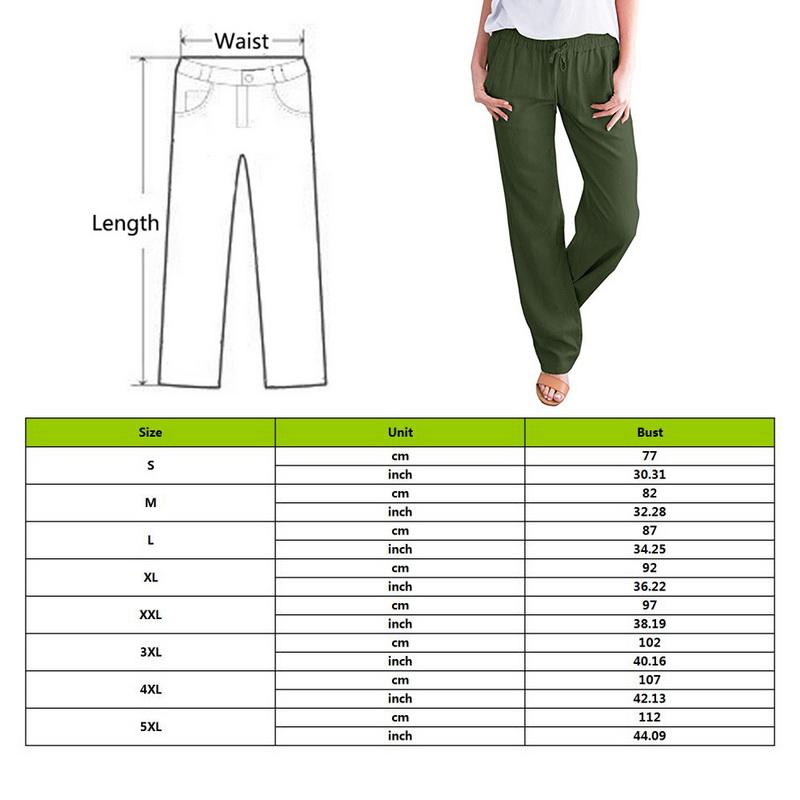 Womens Linen Pants Wide Leg High  Drawstring Casual Long Trousers ILJ