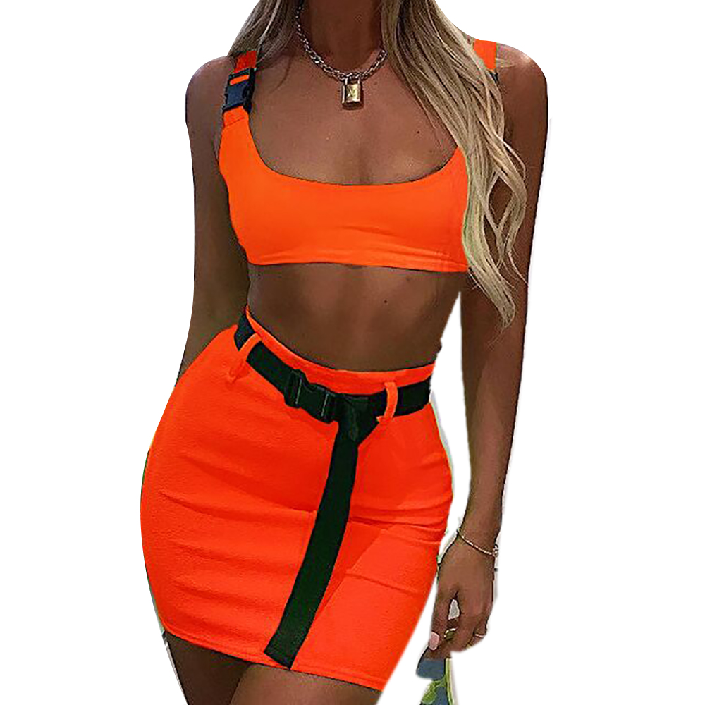 Women Buckle Vest Crop Top Bodycon Skirt Set Party Club 2PCS Solid Dress Outfit