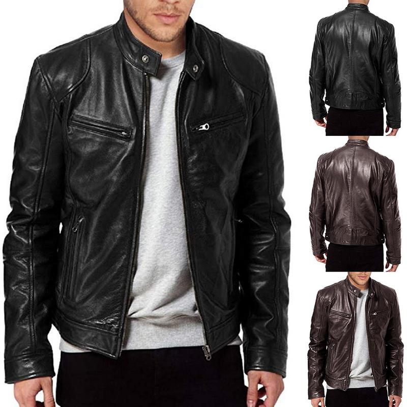 Men/'s Leather Jacket Biker Motorcycle Coat Black Slim Fit Outwear Jackets 9