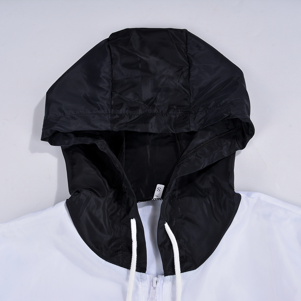 New Womens Colour Block Windbreaker Contrast Festival Hooded Zip Up Jacket Coat