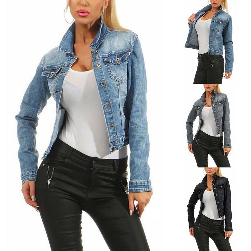 Details zu Damen Jeansjacke Damenjacke Jeans Jacke Kurze Jacke Stretch Denim Mantel Neu