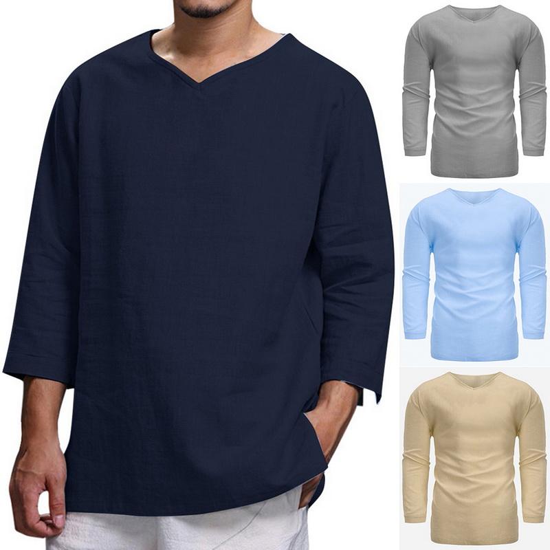 Men Long Sleeve Plain T-Shirt Cotton Hippie Shirt V-Neck Casual Yoga Top Blouse