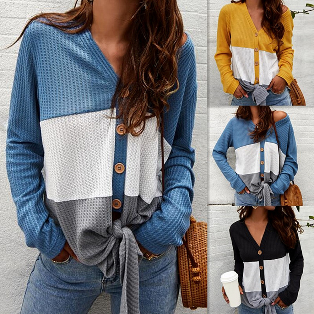 Women S Casual Button Down Front Knot Knit Sweaters Shirts