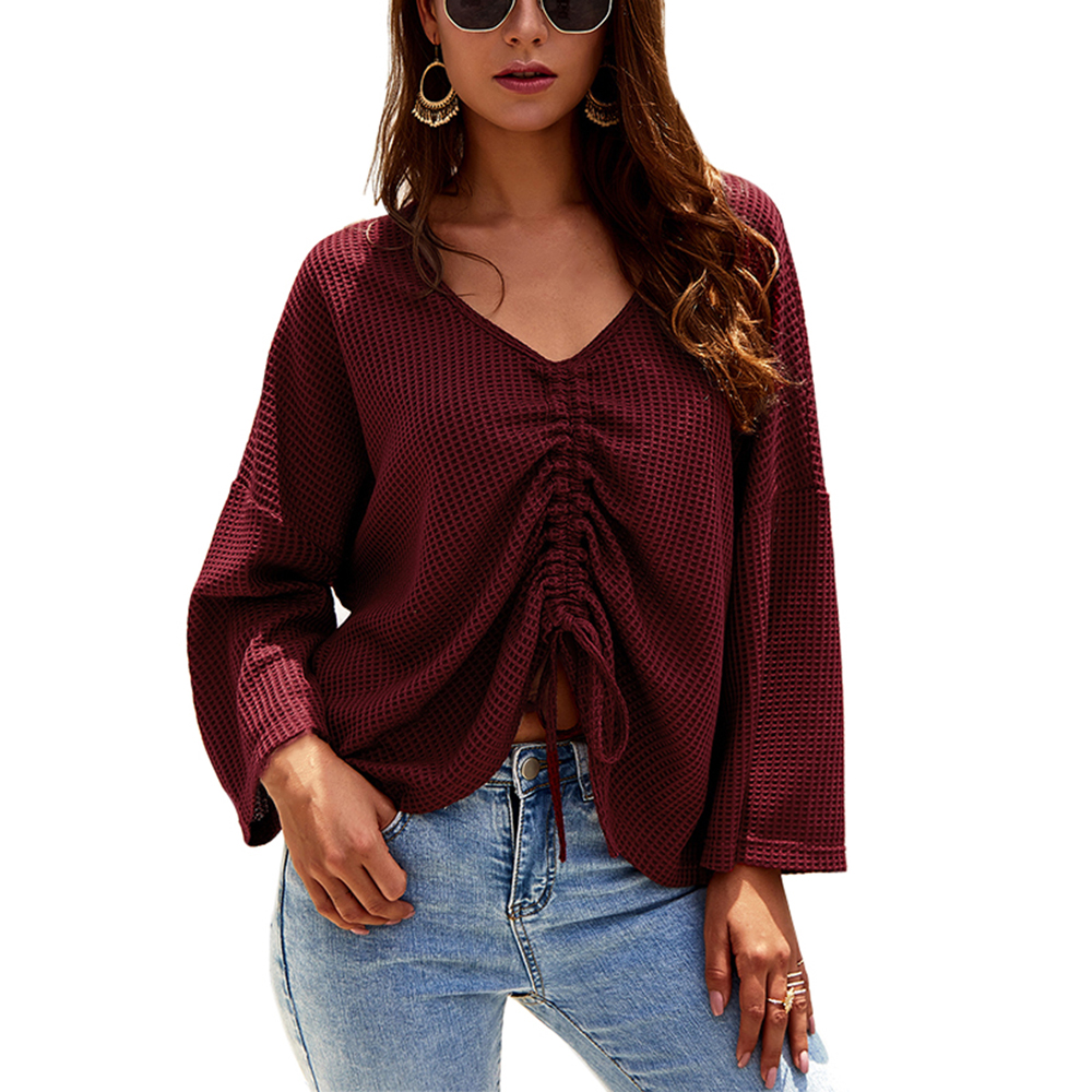 Women S Casual V Neck Front Twist Shirts Long Sleeve Tunic