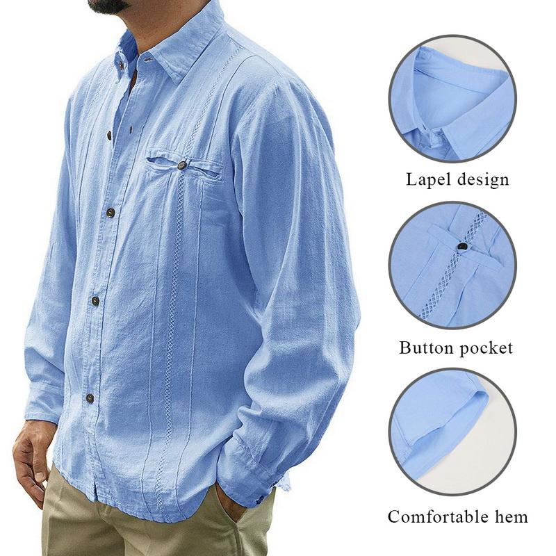 Mens Summer Shirt RNTOP Mens Loose Fit Cuban Camp Linen Shirts Casual Button Down Beach Shirts