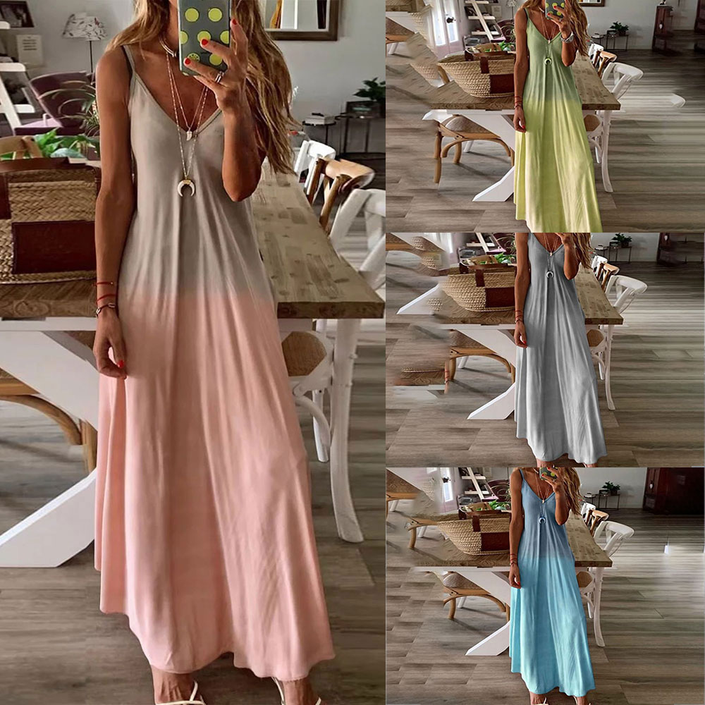Details about Women Tie Dye Gradient VNeck Dress Casual Stappy Holiday Beach A Line Maxi Dress