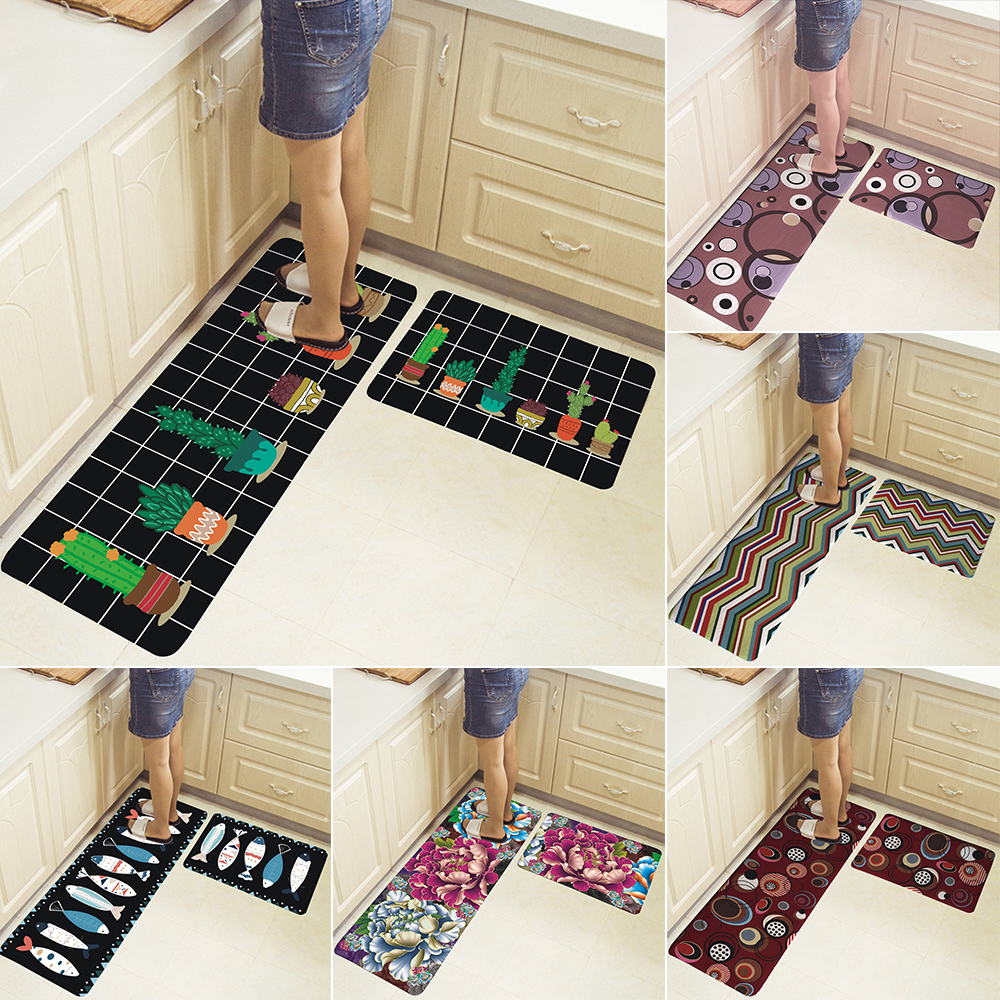 2pcs Kitchen Floor Mat Non Slip Runner