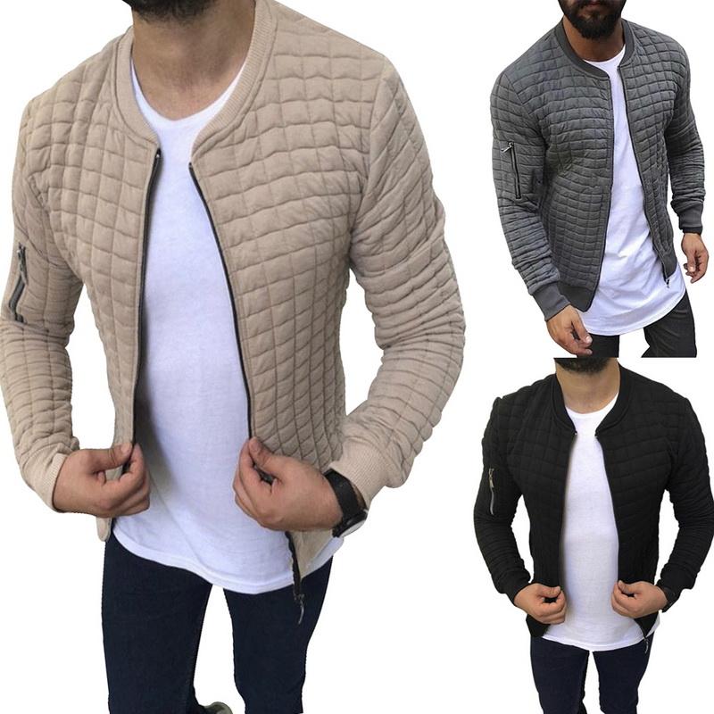 UK Men Pleated Jacket Collared Zip Up Long Sleeve Casual Slim Fit Coat Overcoat
