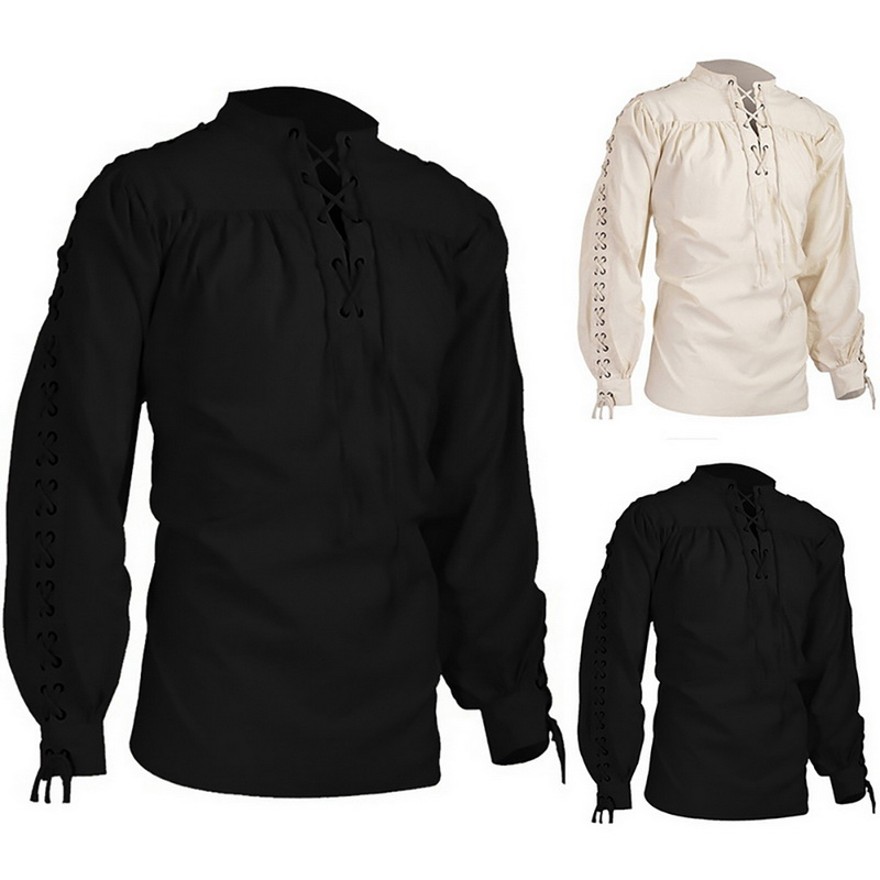 Mens Scottish Jacobite Ghillie Kilt Shirt Lace up Pirate Renaissance Tops