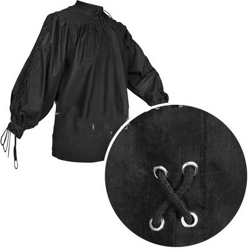 Mens Medieval Renaissance Pure Peasant Pirate Shirt Lace Up Tops Cosplay Costume
