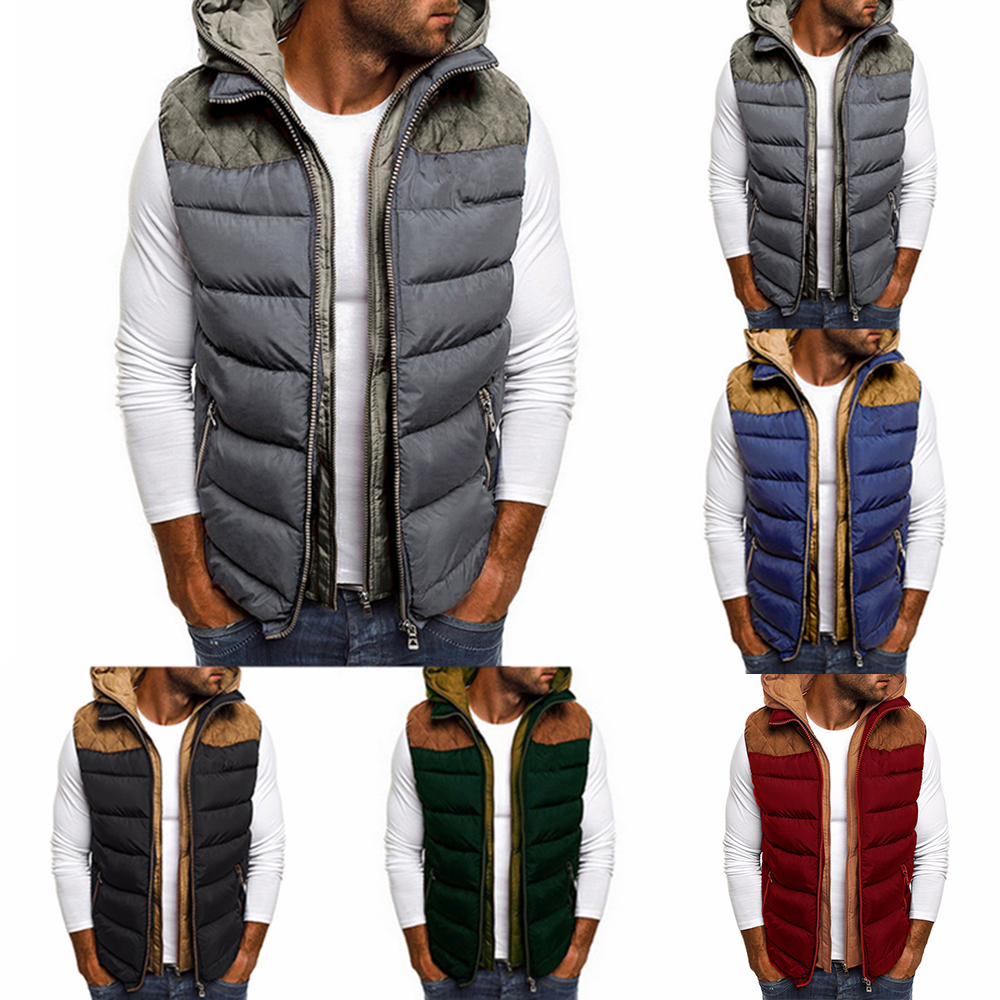 Long Hooded Padded Puffer Quilted Vest Zip Up Sleeveless Jacket Coat Warm