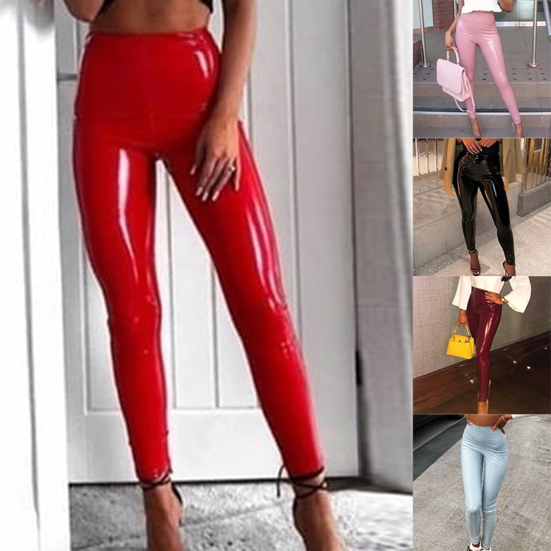 Faux Leather Ripped Leggings Skinny Stretch Pants High Waist for Women Ladies US
