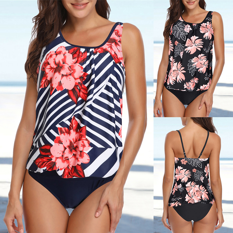 TcIFE Womens V-Neck Two Piece Swimsuits Tiered Ruffle Tankini Top with Brief Swimwear Bathing Suits