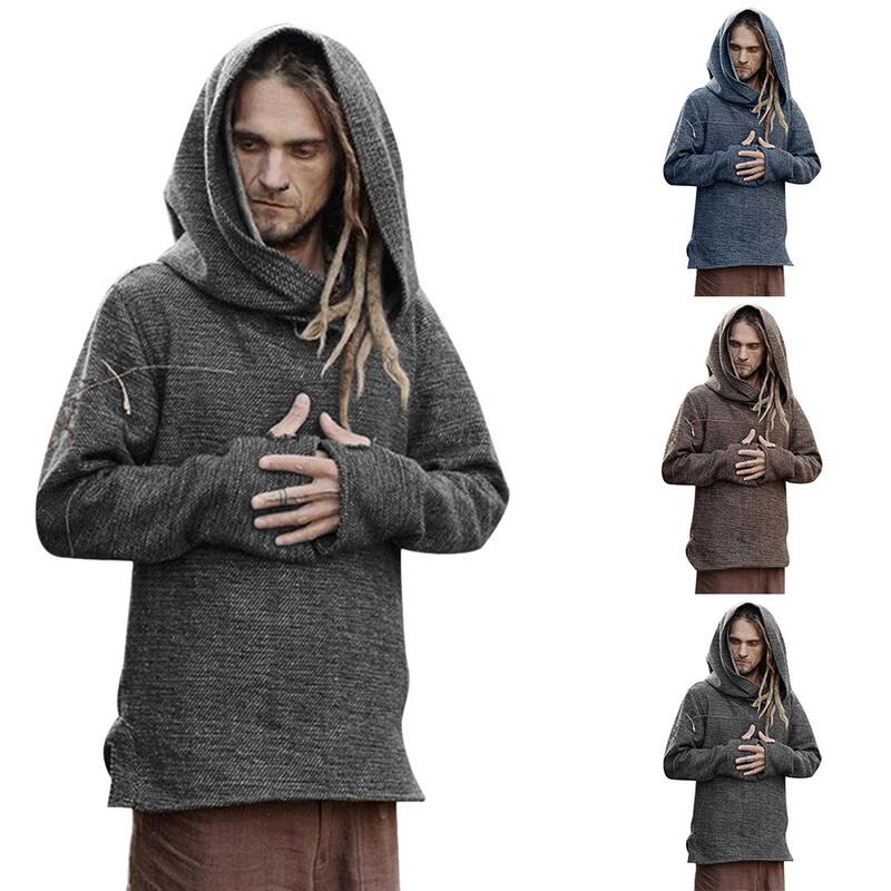 Details about Men Medieval Costume Halloween Men Cosplay Hoodies Full Sleeve Sweatshirt