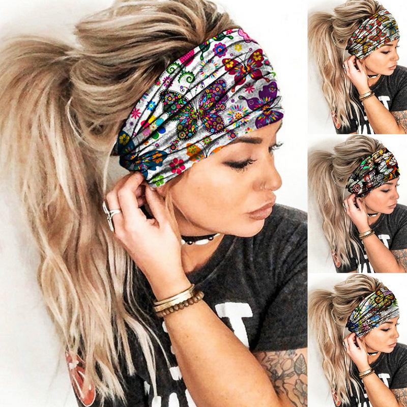 Women Floral Wide Headband Turban Sweatband Sports Yoga Stretch Boho Hairband #