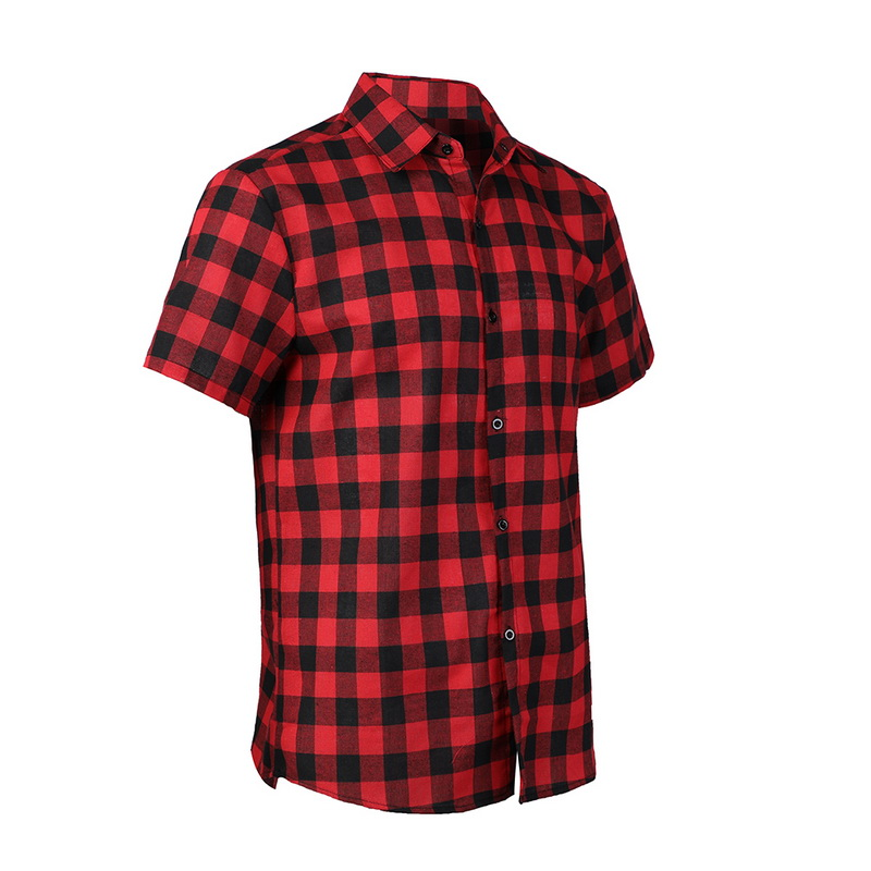 Overdrive Men/'s Cotton Plaid Button Up Casual Short Sleeve Slim Fit Dress Shirt
