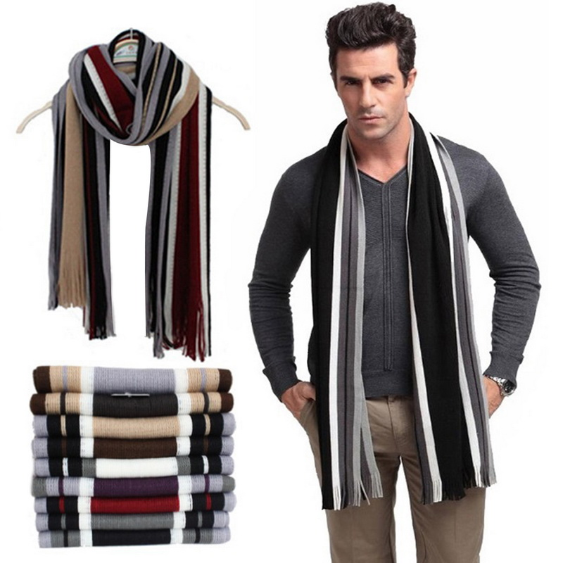 5afb518a4 Details about Winter Design Striped Scarf Men Shawls Scarves Business Wrap  Scarf With Tassels