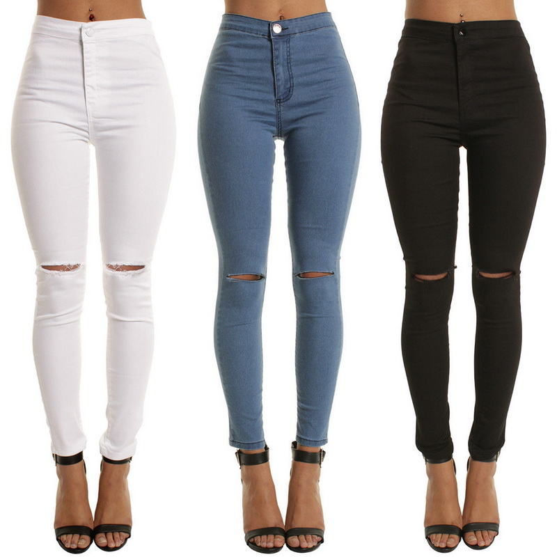 b3d193f05df0f Details about Women Skinny Jeans Hight Waist Denim Leggings Holes Destroyed  Knee Pencil Pants