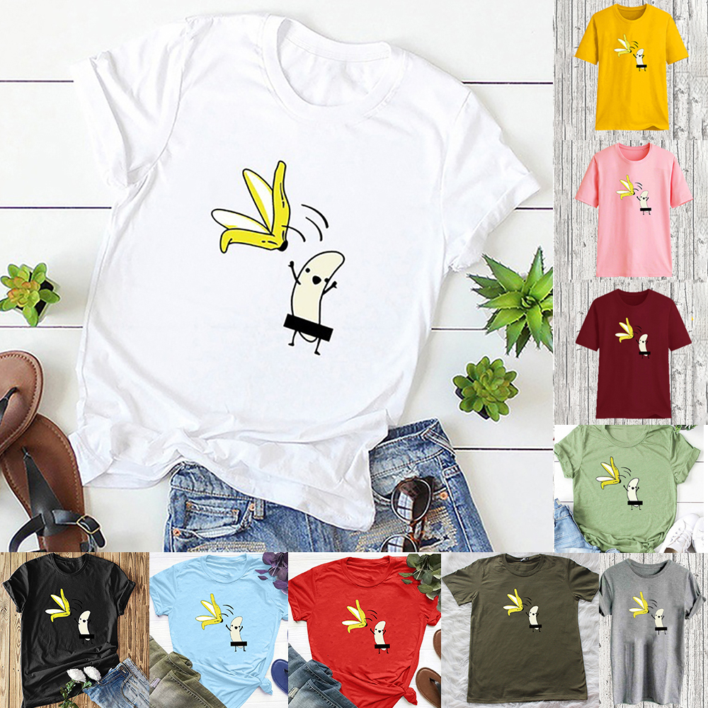 Damen Sommer Kurzarm T-Shirt Prints Freizeit Baumwolle Oberteile Tops Bluse P//D
