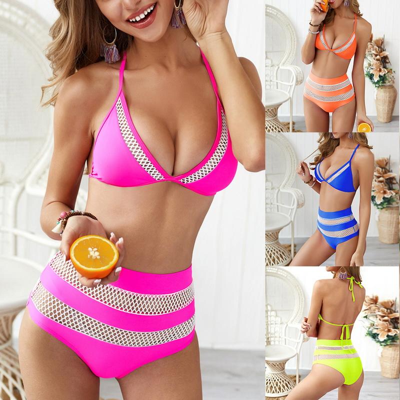 Damen Push up Bikini Set Padded BH Badeanzug Schwimmanzug Hohe Taille Bademode