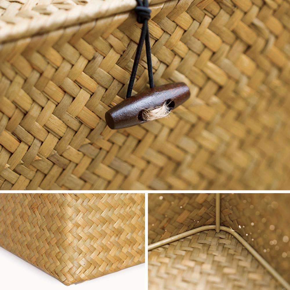 Quadratische  Box Abdeckung Seegras Handtuch Servietten Aufbewahrungs A//7